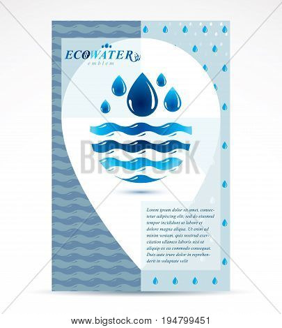 Water purification business promotion idea brochure head page. Fresh mineral water design sea wave splash.