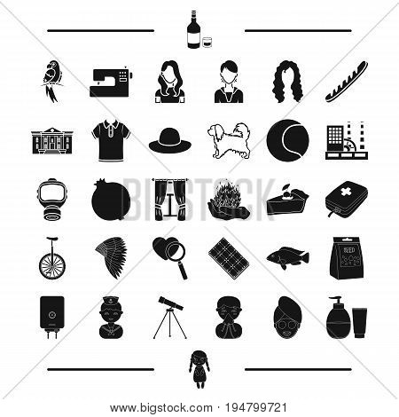 cream, toy, appearance and other  icon in black style.clothes, equipment icons in set collection.