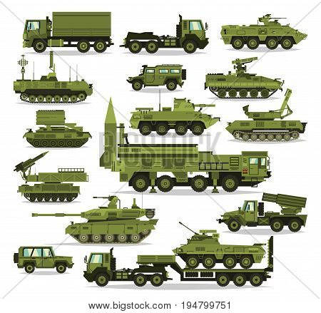 Big set of military equipment. Heavy, reservations and special transport. Equipment for the war. The missile, tanks, trucks, armored vehicles, artillery pieces. Isolated objects. Vector illustration