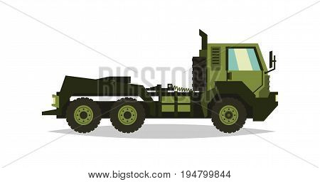 Military truck. The car involved in the fighting. Transportation of heavy machinery. Special equipment. Diesel. Vector illustration. flat style.