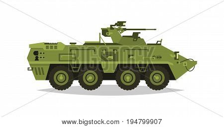 Armored infantry vehicle. Exploration, inspection, optical review, armor, protection, gun, ammo. Equipment for the war. The attack on the enemy. Heavy trucks, all-terrain vehicle Vector illustration