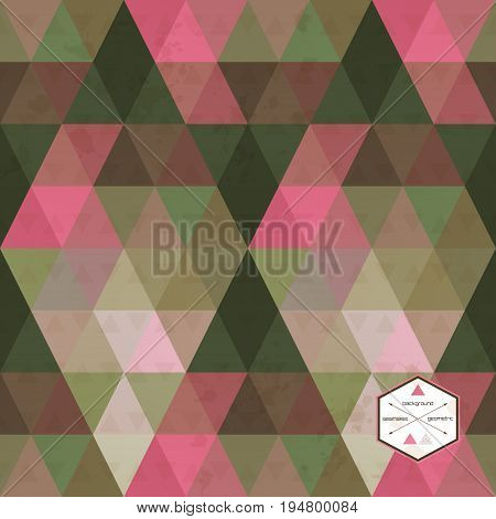 Abstract vector seamless background. Multicolored triangles and stains.