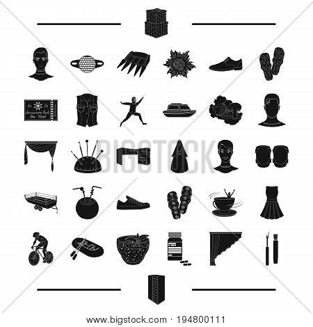 interior, entertainment, sport and other  icon in black style.agriculture, recreation, wedding icons in set collection