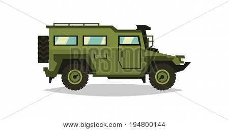 Armored car. The car involved in the fighting. Transportation soldiers. Special military equipment. Diesel. Vector illustration. flat style.