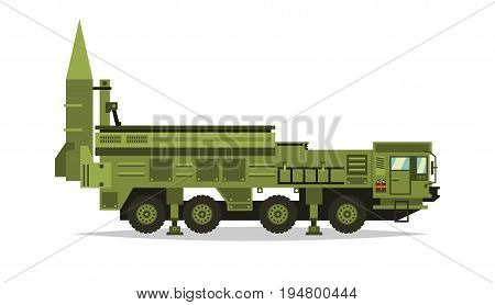 Anti-aircraft missile system. Rockets and shells. Big truck. Special military equipment. Air Attack. All Terrain Vehicle, heavy vehicles. Vector illustration.