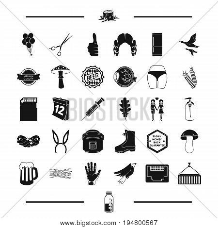 medicine, gay, equipment and other  icon in black style. tool, computer, shoes icons in set collection.