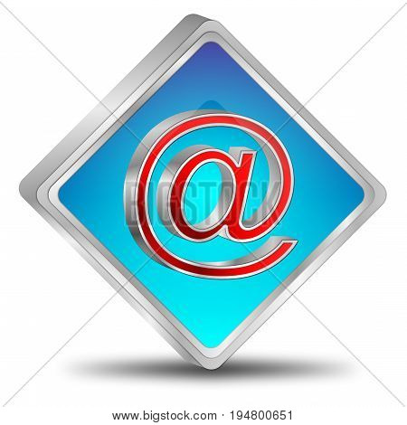 glossy blue E-Mail Button - 3D illustration