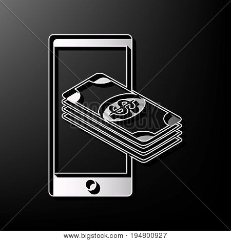Payment, refill your mobile smart phone, . Vector. Gray 3d printed icon on black background.