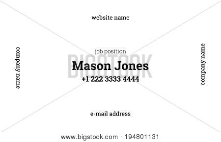 White and white business card template. US standard size 3.5x2 in. With bleed size 0.125 in. Vector. Minimal and official style.