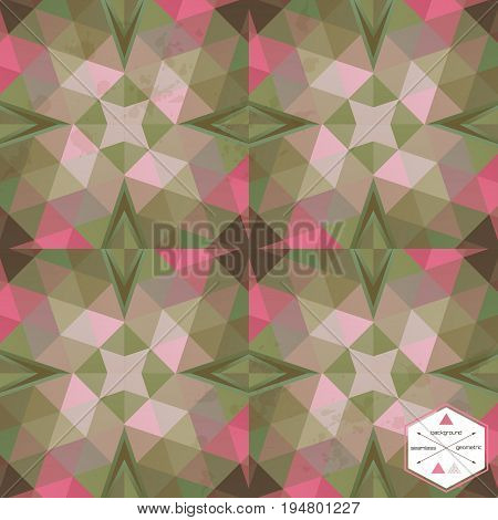 Vector seamless background with abstract pattern. Multicolored triangles and stains.