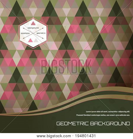 Vector card with abstract pattern. Multicolored triangles and stains. Place for your text. Perfect for greetings invitations announcements or cover design.