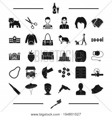 dentistry, appearance and other  icon in black style.architecture, animal, food icons in set collection.