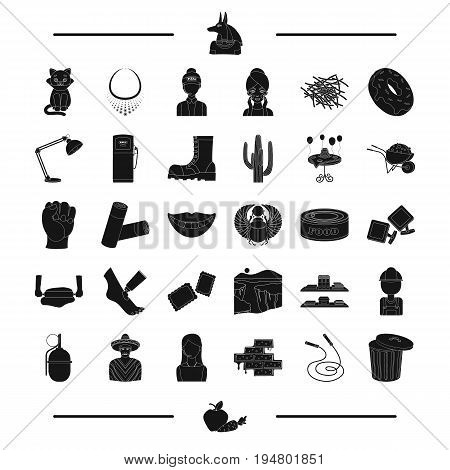 brick, skipping, rope, tank and other  icon in black style. vegetables, garbage, travel, accessories icons in set collection.