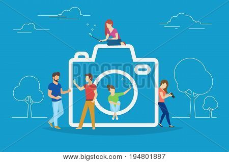 Camera and photo concept vector illustration of young people using smartphones with sticks for taking photos and posting in socail networks. Flat people standing and sitting near big camera symbol