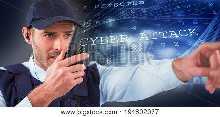 Security officer talking on walkie talkie while pointing away against virus background
