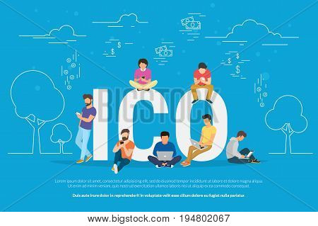 ICO concept vector illustration of young people using laptop and smartphone for online funding new startup or making investments for project. Flat design of initial coin offering of cryptocurrency