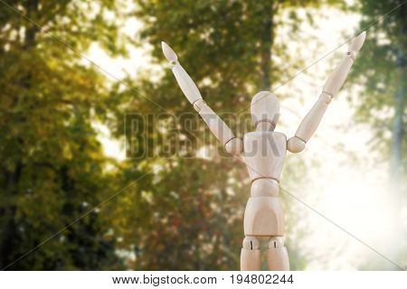 3d image of carefree wooden figurine against trees in forest