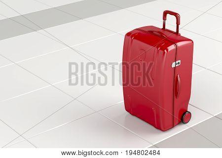 Red travel bag on tile floor, 3D illustration