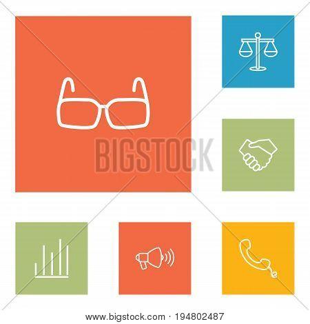 Set Of 6 Management Outline Icons Set.Collection Of Loudspeaker, Handshake, Handset Elements.