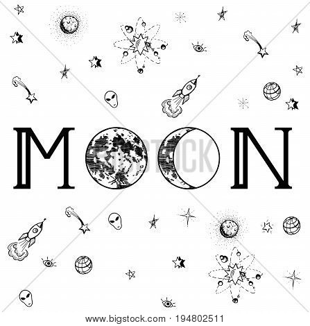 Vector illustration of inscription: Moon with two moons in different phases on the place of O-s surrounded with tiny space-related images in a doodle manner.On white.