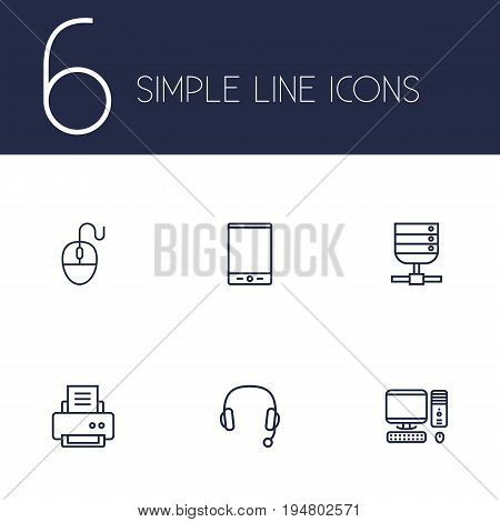 Set Of 6 Notebook Outline Icons Set.Collection Of PC, Headphone, Tablet And Other Elements.