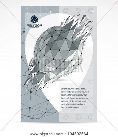 Communication technologies advertising poster. 3d polygonal monochrome geometric faceted object vector abstract design element with wreckage.