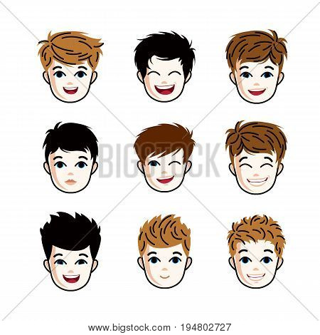 Collection of boys faces expressing different emotions like happiness and making some grimaces vector human head illustrations. Set of red-haired and brunet teenagers.