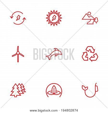 Set Of 9 Bio Outline Icons Set.Collection Of Eco, Afforestation, Fuel And Other Elements.