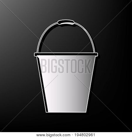 Bucket sign for garden. Vector. Gray 3d printed icon on black background.