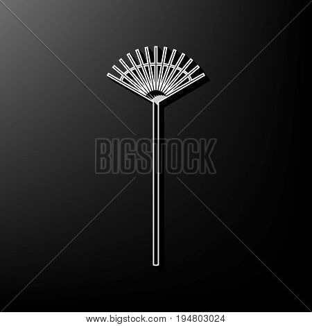 Lawn rake sign. Vector. Gray 3d printed icon on black background.