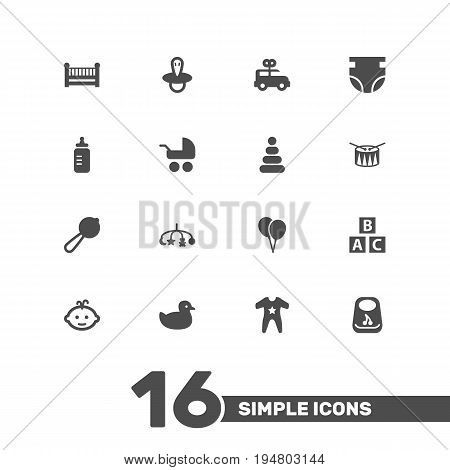 Set Of 16 Baby Icons Set.Collection Of Duck, Hangings, Milk And Other Elements.