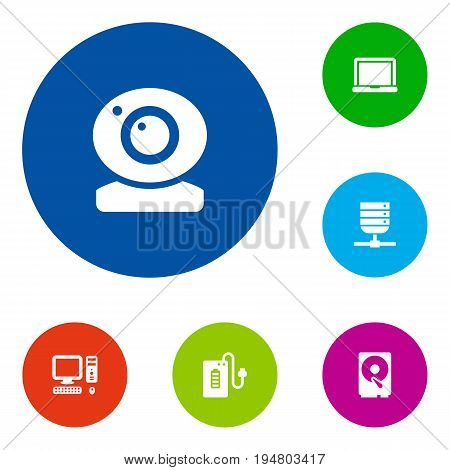 Set Of 6 Notebook Icons Set.Collection Of Laptop, Datacenter, Hard Disk And Other Elements.