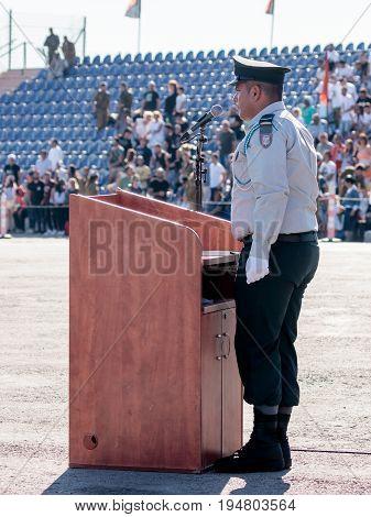 Nahariya Israel June 29 2017 : Ensign of the IDF stands near the podium at the evening formation in Nahariya Israel