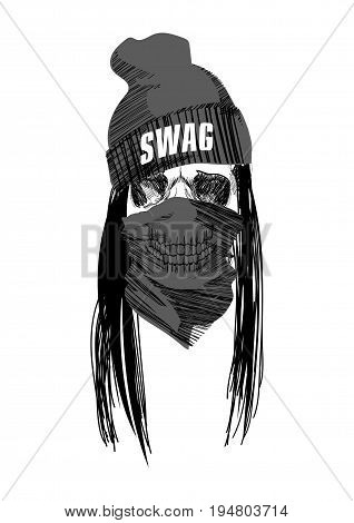 Swag hip-hop scull on  isolated  white background.