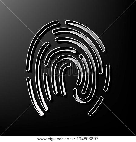 Fingerprint sign illustration. Vector. Gray 3d printed icon on black background.