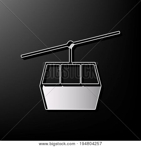 Funicular, Cable car sign. Vector. Gray 3d printed icon on black background.