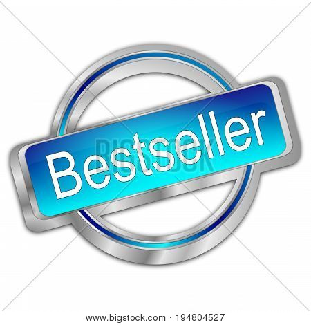 glossy blue Bestseller button - 3D illustration