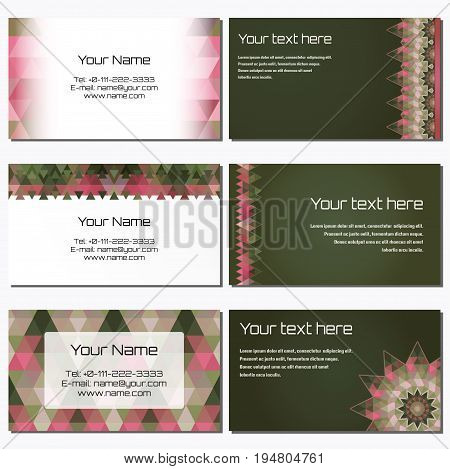 Set of six horizontal business cards. Multicolored triangles. Complied with the standard sizes.