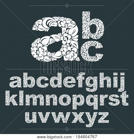 Set of vector ornate lowercase letters flower-patterned typescript. Black and white characters created using herbal texture.