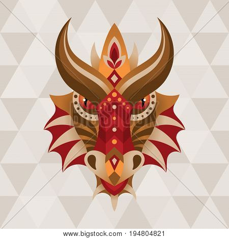 Dragon. Chinese horoscope sign. Vector illustration in ethnic style.