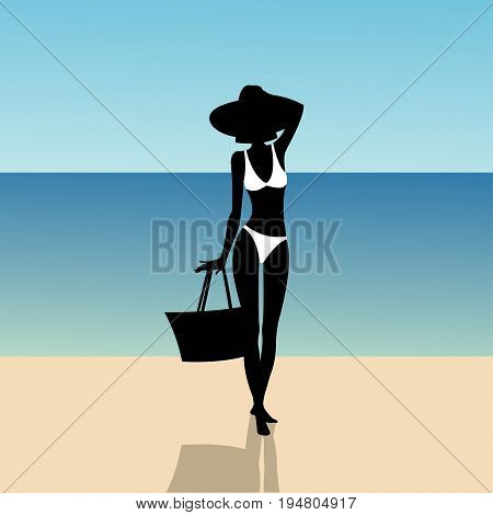 Silhouette of a slender girl on the beach