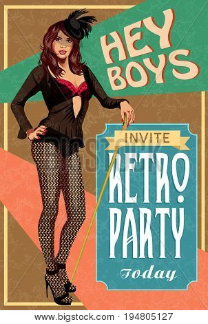 The vector invitation on fashionable a retro party.