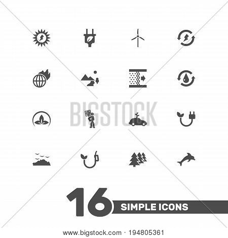 Set Of 16 Atmosphere Icons Set.Collection Of Reforestation, Purification, Treatment And Other Elements.