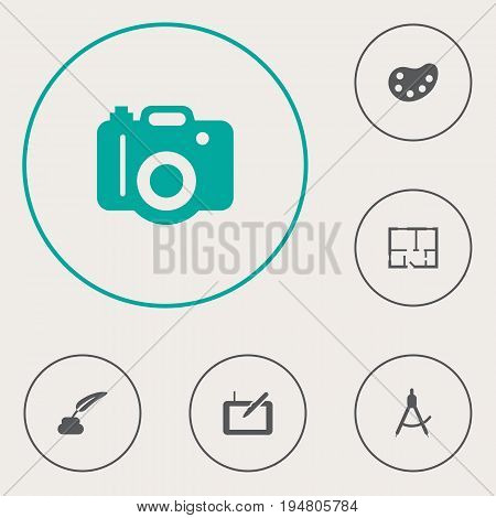 Set Of 6 Creative Icons Set.Collection Of Gadget, Compass, Photo And Other Elements.