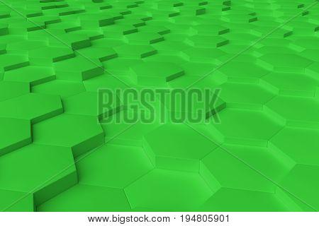 Green monochrome hexagon tiles perspective abstract background horizontal