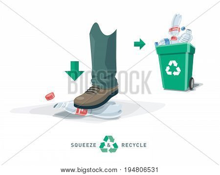 Foot Squeeze Empty Plastic Bottle With Recycling Bin