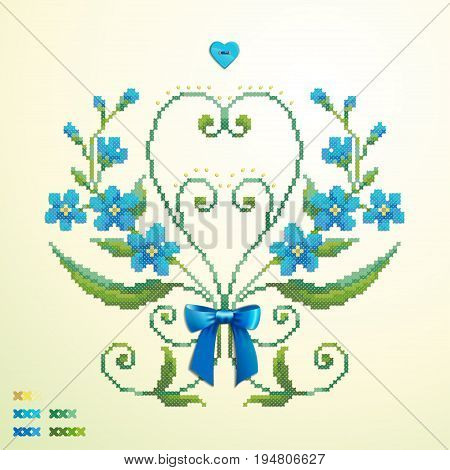 Beautiful floral vector element. Pattern imitates embroidery cross stitch and beads. Forget-me-not button heart satin ribbon bow. Create your own pattern.