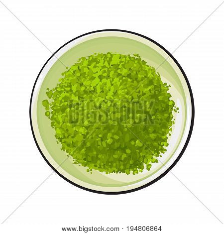Top view drawing of matcha green tea powder in bowl, sketch style vector illustration isolated on white background. Realistic hand drawing of matcha green tea powder in white bowl