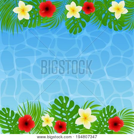 Frame of palm leaves with tropical flowers. Frangipani and hibiscus with green leaves on blue water, background illustration.