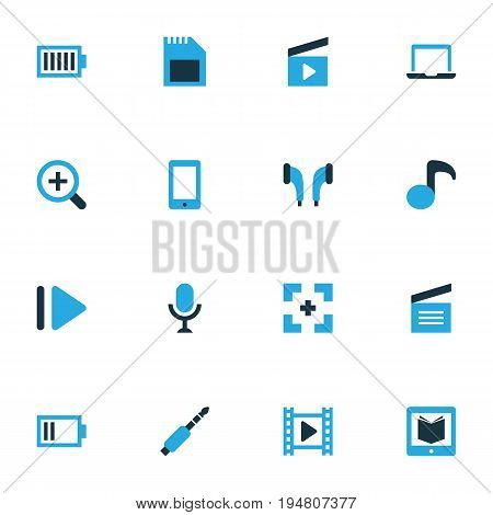 Multimedia Colorful Icons Set. Collection Of Movie, Audio, Karaoke And Other Elements. Also Includes Symbols Such As Memory, Musical, Jack.